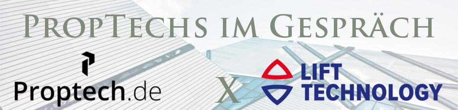 Modernes Gebäude im Hintergrund im Vordergrund Logo: Proptech und Lift Technology