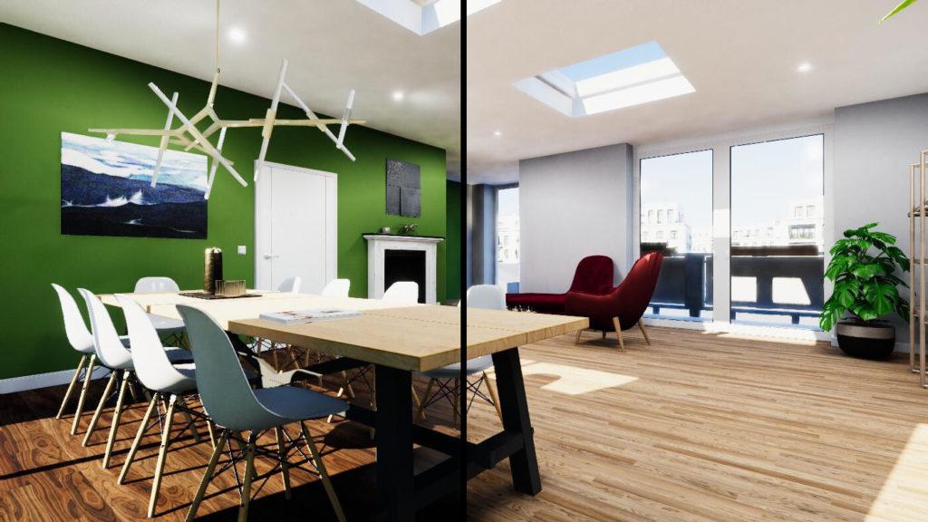Zwei Echtzeit-Renderings mit unterschiedlicher Konfiguration. Sichtbar wird, wie die unterschiedliche Wandfarbe über die Reflexion auch die Decke und die Einrichtung beeinflusst.